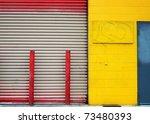 colorful urban wall and door | Shutterstock . vector #73480393