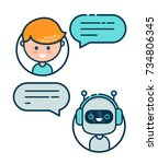 cute smiling chat bot is... | Shutterstock .eps vector #734806345