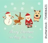 christmas and new year card.... | Shutterstock .eps vector #734806621