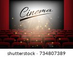movie theater background with... | Shutterstock . vector #734807389