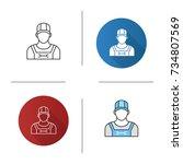 plumber icon. flat design ... | Shutterstock .eps vector #734807569