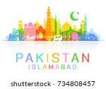 pakistan travel landmarks.... | Shutterstock .eps vector #734808457