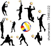 volleyball player set   vector | Shutterstock .eps vector #73481122