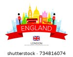 england travel landmarks.... | Shutterstock .eps vector #734816074