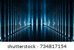 elegant futuristic blue light...   Shutterstock . vector #734817154
