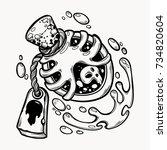 hand drawn magic bottle. vial... | Shutterstock .eps vector #734820604
