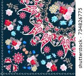 quarter shawl with paisley... | Shutterstock .eps vector #734826775