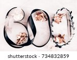 word boo made of black ribbon... | Shutterstock . vector #734832859