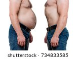 two men bodies  one fat on the... | Shutterstock . vector #734833585