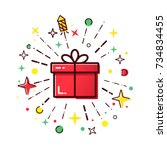 vector line icons of christmas... | Shutterstock .eps vector #734834455