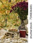 autumn still life with flower... | Shutterstock . vector #734836681