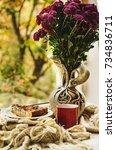 autumn still life with flower... | Shutterstock . vector #734836711