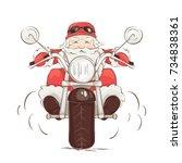 santa biker   vector... | Shutterstock .eps vector #734838361