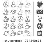 users line icons. profile ... | Shutterstock .eps vector #734840635