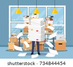 stressed businessman holds pile ... | Shutterstock .eps vector #734844454