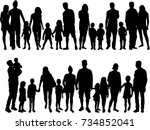 vector silhouette of family. | Shutterstock .eps vector #734852041
