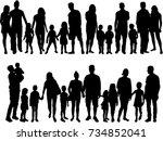 vector silhouette of family. | Shutterstock .eps vector #734852041