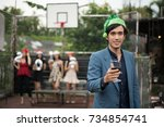 young people are celebrating... | Shutterstock . vector #734854741