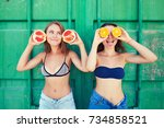 portrait of two young slender ... | Shutterstock . vector #734858521