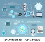 artificial intelligence... | Shutterstock .eps vector #734859001