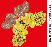 butterfly doodle new design... | Shutterstock . vector #734859211