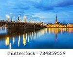 panorama of the night riga ... | Shutterstock . vector #734859529