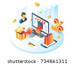 online shopping isometric... | Shutterstock .eps vector #734861311