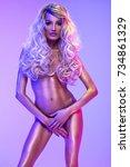 blonde beautiful woman in the...   Shutterstock . vector #734861329