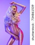 blonde beautiful woman in the...   Shutterstock . vector #734861539