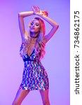 blonde beautiful woman wear... | Shutterstock . vector #734862175