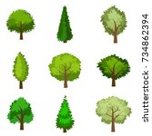 set of seasoned trees. flat... | Shutterstock .eps vector #734862394