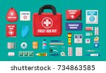 first aid kit with medical... | Shutterstock .eps vector #734863585