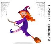 teenager female dressed in... | Shutterstock .eps vector #734865241