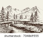 a river in the mountains sketch | Shutterstock .eps vector #734869555