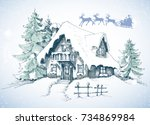 christmas card. winter... | Shutterstock .eps vector #734869984