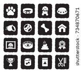 dog icons. grunge black flat... | Shutterstock .eps vector #734870671