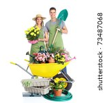 Gardening. People Workers With...