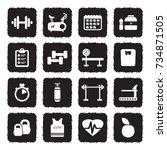 gym icons. grunge black flat... | Shutterstock .eps vector #734871505