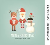 merry christmas greeting card   ... | Shutterstock .eps vector #734873755