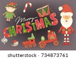 merry christmas greeting card   ... | Shutterstock .eps vector #734873761