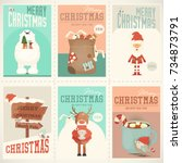 merry christmas posters set  ... | Shutterstock .eps vector #734873791