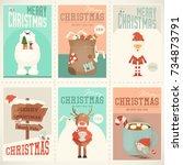 merry christmas posters set  ... | Shutterstock .eps vector #734873791