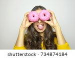close up portrait of funny... | Shutterstock . vector #734874184