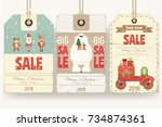 christmas sale tags in retro... | Shutterstock .eps vector #734874361