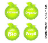 natural  organic  bio and fresh ... | Shutterstock .eps vector #734874535