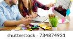 team of creative designers... | Shutterstock . vector #734874931