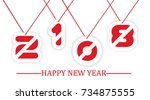 2018 happy new year written... | Shutterstock .eps vector #734875555