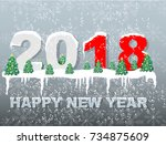 2018 happy new year snow | Shutterstock .eps vector #734875609