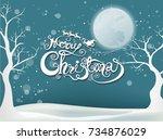 merry christmas and santa... | Shutterstock .eps vector #734876029