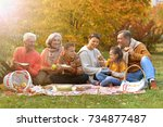big happy family on picnic | Shutterstock . vector #734877487